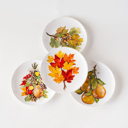 Autumn Centerpiece Salad Plate - Set of 4 - Inspired by the beautiful centerpieces made from nature's fallen autumn treasures, this set of salad plates will be a lasting display of the season's stunning offerings. As the plate's contents get consumed, the image will slowly unearth.