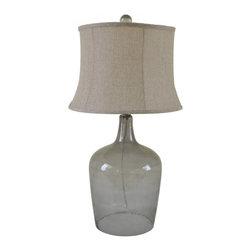 Natural Linen Shade Gray Bottle Table Lamp - Natural Linen Shade Gray Bottle Table Lamp