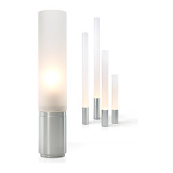 """Pablo Designs - Pablo Designs Elise Lamp , 12"""" - Elise is a conceptual tribute to the machine age: streamlined, understated, and honest in its function as a light source. Celebrating the most classic of industrial forms, the cylinder, two elements compose the lamp: a refined aluminum base conceals the light source, providing ample ballast, while its towering frosted acrylic diffuser becomes a beacon of light. Its confident, geometric simplicity enables it to comfortably inhabit a diversity of spaces. Elise offers a full dimming range and is available in heights ranging from 12"""" to 80""""."""