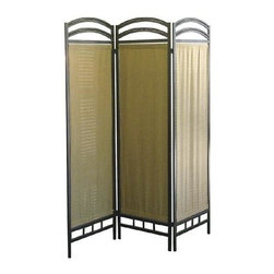 ORE International - Room Divider w Fabric - 3 Panels - 3 Panels natural fiber . Folds flat for easy storage. Pewter tone. Contemporary design. Made of arch metal frame. Indoor & Outdoor usage. 6 in. thick when closed. 50 in. W x 2 in. D x 72 in. H (25 lbs.)The fabric naturally filter light to enhance this contemporary room divider, a sophisticated way to create privacy or to define seating areas in larger rooms.