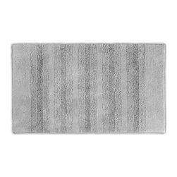 None - Westport Stripe Stormy Seas Washable 30 x 50 Bath Rug - Classic and comfortable,the Westport Stripe bath collection adds instant luxury to your bathroom,shower room or spa. Machine-washable,the always plush nylon holds up to wear,while the non-skid latex makes sure this grey rug stays in place.