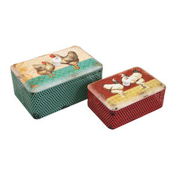 iMax - Ruthie Boxes, Set of 2 - Hen picks: Lidded and perforated metal boxes are decorated with charming, chatty hens