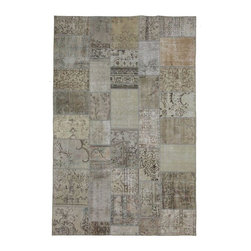 """Pre-owned Beige & Taupe Overdyed Turkish Patchwork Carpet - Traditional Turkish patterns from an assortment of vintage pieces mix to make this hand made, naturally distressed vintage rug. Full cotton backing and decorative blanket stitch edging.    Remnants of vintage wool on a cotton warp, made entirely by hand in the '60's through '80's when Turkish women still included weaving in their daily homemaking chores. Employing the sturdy double knot technique unique to Turkish rugs, multicolor floral and medallion motifs were created a row at a time using bright hand dyed wools. Considered too old fashioned for modern Turkish homes in their traditional incarnations, these rugs have languished in back rooms of the bazaars‰Ű_until now, as these fragments in excellent condition are overdyed and combined to create modern patchwork statements for the floor.    Note from the seller: """"Our revitalization process keeps rugs that may otherwise get tossed out of landfill. Repurposed discards are helping artisans connect and create, supporting the community we're building here in Istanbul to revive vanishing traditional fiber crafts.‰Űť    Please note that all sales are final - These amazing rugs are coming direct from Istanbul, Turkey and returns will not be allowed."""