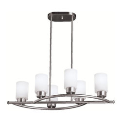 KICHLER - KICHLER Modena Contemporary Convertible Semi-Flush / Chandelier X-IN1303 - A blend of modern and contemporary influences, this Kichler Lighting chandelier from the Modena Collection features six cylindrical opal etched glass shades that highlight the clean curves finished in a Brushed Nickel hue.