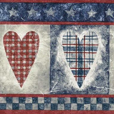 York Wallcoverings - Blue Red Running Hearts Wallpaper Border - Wallpaper borders bring color, character and detail to a room with exciting new look for your walls - easier and quicker then ever.
