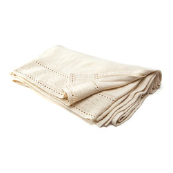 Sefte - Sefte Acara Cream Blanket - Sefte translates the antique French art of ajour detailing to a contemporary hem on the Acara blanket. Crocheted by hand from organic cotton, this cream blanket is tightly woven for use in a luxury bedding ensemble or as a summer-time coverlet. Available in queen and king sizes; 100% organic cotton; Sefte follows Fairtrade practices; Environmentally-friendly, oeko-tex standard dyes; Dry clean only