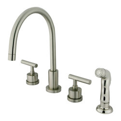 "Kingston Brass - Double Handle Widespread Kitchen Faucet with Non-Metallic Sprayer - The Manhattan collection is best known for its sleek avant-garde look--a style that exhibits sophistication and contemporary elegance. The widespread kitchen faucet features a long C-spout with a non-metallic sprayer providing a thorough washing experience--all constructed in high quality brass for that shiny reflective appearance. A ten year limited warranty is provided to the original consumer as well.; Includes Plastic Sprayer; 1/4 Turn Ceramic Disk Cartridge; Nu-French Lever Handle; 8"" Gooseneck Spout with a 7"" spout clearance; 4 Hole Installation; Material: Brass; Finish: Satin Nickel; Collection: Manhattan"