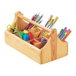Sturdy Wooden Crayon Caddy With 8 Compartments - Keep art products corralled in a little caddy like this one. Do you see the carved bird design on each end?