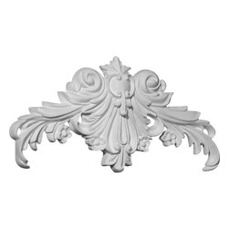 "Ekena Millwork - 10 5/8""W x 5 1/4""H x 7/8""P Gladstone Center Onlay - 10 5/8""W x 5 1/4""H x 7/8""P Gladstone Center Onlay. Our appliques and onlays are the perfect accent pieces to cabinetry, furniture, fireplace mantels, ceilings, and more. Each pattern is carefully crafted after traditional and historical designs. Each polyurethane piece is easily installed, just like wood pieces, with simple glues and finish nails. Another benefit of polyurethane is it will not rot or crack, and is impervious to insect manifestations. It comes to you factory primed and ready for your paint, faux finish, gel stain, marbleizing and more."
