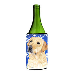 Caroline's Treasures - Labrador Winter Snowflakes Holiday Wine Bottle Koozie Hugger SC9376LITERK - Labrador Winter Snowflakes Holiday Wine Bottle Koozie Hugger SC9376LITERK Fits 750 ml. wine or other beverage bottles. Fits 24 oz. cans or pint bottles. Great collapsible koozie for large cans of beer, Energy Drinks or large Iced Tea beverages. Great to keep track of your beverage and add a bit of flair to a gathering. Wash the hugger in your washing machine. Design will not come off.