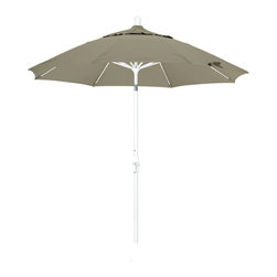 California Umbrella - 9 Foot Pacifica Crank Lift Collar Tilt Aluminum Patio Umbrella, White Pole - California Umbrella, Inc. has been producing high quality patio umbrellas and frames for over 50-years. The California Umbrella trademark is immediately recognized for its standard in engineering and innovation among all brands in the United States. As a leader in the industry, they strive to provide you with products and service that will satisfy even the most demanding consumers.