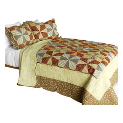 Blancho Bedding - [Lucky Clover] 3PC Cotton Contained Patchwork Quilt Set (Full/Queen Size) - Set includes a quilt and two quilted shams (one in twin set). Shell and fill are 100% cotton. For convenience, all bedding components are machine washable on cold in the gentle cycle and can be dried on low heat and will last you years. Intricate vermicelli quilting provides a rich surface texture. This vermicelli-quilted quilt set will refresh your bedroom decor instantly, create a cozy and inviting atmosphere and is sure to transform the look of your bedroom or guest room. Dimensions: Full/Queen quilt: 90 inches x 98 inches  Standard sham: 20 inches x 26 inches.