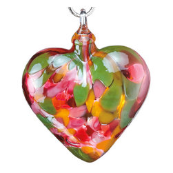 Handblown Tulip Mosaic Glass Heart Ornament - Support local vendors! This company makes its ornaments in Washington state.