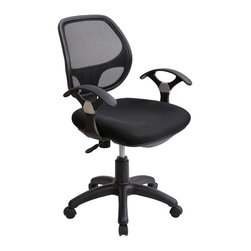 RTA Products - Techni Mobili Mid-Back Mesh Task Chair - Black - The Techni Mobili Mid-Back Mesh Task Chair provides breathable mesh back support, a contoured fabric seat cushion, and contoured armrests in a sleek, contemporary design. The pneumatic height adjustment lever provides a 4.5 inch seat height adjustment range and the reclining back has a tension control knob. Dual wheel non-marking casters and a 5-star nylon base provide durable, stable mobility.