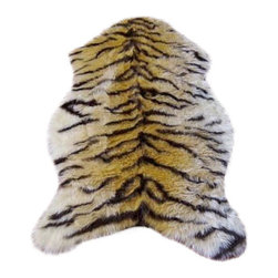 Hollywood Love Rugs - Faux Savannah Tiger Skin Rug 4' 10 x 6' 8 Large - Long Pile Faux Fur Savannah Tiger Hide Rug. Truly exotic with with authentic exotic animal skin rug appearance. These beautiful and affordable fake animal hide rugs are made with a rubberized non-skid backing. Washable, hypoallergenic, stain and soil resistant and naturally fire retardant without the use of chemical treatments. It's non-skid backing makes these rugs appropriate for every room in the home, including the bath or adventurous child's room. Vacuum only with hand held non-agitator vacuum. Wash with cold water and Woolite on gentle cycle and air dry.