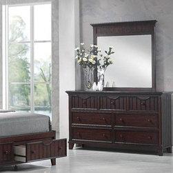 Acme Furniture - Gallagher Walnut Finish Dresser and Mirror Set - 20474-20475 - Set includes Dresser and Mirror