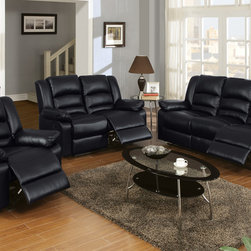 Modern Black Leather Reclining Sofa Loveseat Motion Couch Living Room - The handsome bonded leather reclining set has full ample seating,reinforced with comfy, crushy foam and segmented cushioning on the back for extra lumbar and neck support. Robust hardwood frame, high-density foam, seat webbing and seat springs all of which combine to produce a sofa set that is durable, strong and will stand the test of time!