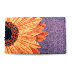 Entryways - One Sunflower Hand Woven Coconut Fiber Doormat - Single Doormat, hand-woven, hand-painted, hand-stenciled, fade resistant, natural coir (coconut fiber), durable, best location is covered area, shake or sweep clean.