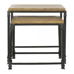 Safavieh - Tetta Stacking Table - The rustic charm of reclaimed wood contrasted dark hand-forged iron frame defines the timeless appeal of the Tetta Nesting Tables. The natural coloration and tones of solid ash wood make a solid statement about the sophistication and charm of natural beauty.