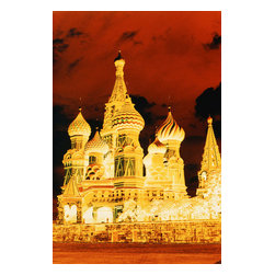 Custom Photo Factory - Fiery Sky with lit St. Basil's Cathedral Canvas Wall Art - Fiery Sky with lit St. Basil's Cathedral  Size: 20 Inches x 30 Inches . Ready to Hang on 1.5 Inch Thick Wooden Frame. 30 Day Money Back Guarantee. Made in America-Los Angeles, CA. High Quality, Archival Museum Grade Canvas. Will last 150 Plus Years Without Fading. High quality canvas art print using archival inks and museum grade canvas. Archival quality canvas print will last over 150 years without fading. Canvas reproduction comes in different sizes. Gallery-wrapped style: the entire print is wrapped around 1.5 inch thick wooden frame. We use the highest quality pine wood available. By purchasing this canvas art photo, you agree it's for personal use only and it's not for republication, re-transmission, reproduction or other use.