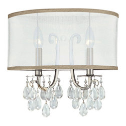 "Crystorama - Crystorama Hampton Silver Shade 14"" Wide Wall Sconce - The polished chrome finish shines under a custom-made translucent silver shimmer silk fabric shade. Extra sparkle and bling factor are added by the clear smooth crystal ""jewels"" draped below. Polished chrome finish. Silver shimmer silk fabric shade. Takes two 60 watt candelabra bulbs (not included). 14"" wide. 13"" high. Extends 6"" from the wall. Backplate is 13"" wide 6 1/2"" high. Mounting point to top of fixture is 4 1/4"".  Polished chrome finish.   Silver shimmer silk fabric 1/2 shade.   Takes two 60 watt candelabra bulbs (not included).   14"" wide.   13"" high.   Extends 6"" from the wall.   Backplate is 13"" wide 6 1/2"" high.  Mounting point to top of fixture is 4 1/4""."
