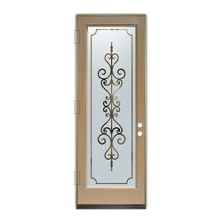 Sans Soucie Art Glass (door frame material Plastpro) - Glass Front Entry Door Sans Soucie Art Glass Carmona - Sans Soucie Art Glass Front Door with Sandblast Etched Glass Design. Get the privacy you need without blocking light, thru beautiful works of etched glass art by Sans Soucie!This glass is semi-private. Door material will be unfinished, ready for paint or stain.Bronze Sill, Sweep and Hinges. Available in other finishes, sizes, swing directions and door materials.Dual Pane Tempered Safety Glass.Cleaning is the same as regular clear glass. Use glass cleaner and a soft cloth.