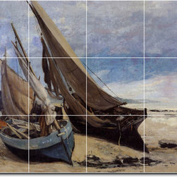 Picture-Tiles, LLC - Fishing Boats On The Deauville Beach Tile Mural By Gustave Courbet - * MURAL SIZE: 36x48 inch tile mural using (12) 12x12 ceramic tiles-satin finish.