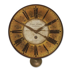Uttermost - European Antique Manuscript Wall Clock with Pendulum-20 in. - This  antiqued  and  weathered  looking  clock  features  a  dark  ivory  face  with  roman  numerals  and  short  pendulum.  It  is  a  classy  clock  -  perfect  for  a  home  or  office  with  elegance.  Brass  accents  add  to  the  beauty  of  this  clock.  Requires  1-AA  battery.