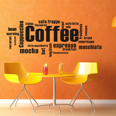 ColorfulHall Co., LTD - Coffee Lettering Wall Art Kitchen Wall Decals, Black - Coffee Lettering Wall Art Kitchen Wall Decals