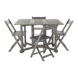 Safavieh - Arvin Table And 4 Chairs - An ingenious space saver, Arvin outdoor dining table and chair set is designed for gracious outdoor living. Crafted of eco-friendly grey-washed acacia wood, its 4 director-style chairs fold and tuck under a foldable rectangular table for easy storage.
