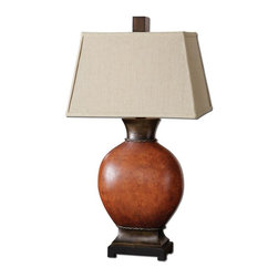Uttermost - Suri Decorative Lamps - Heavily crackled ceramic body finished in a burnished dark red with dark bronze details and a black foot