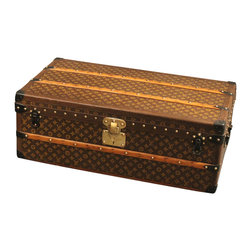 1920s Louis Vuitton Cabin Trunk - This authentic 1920s Louis Vuitton Cabin Trunk makes an excellent coffee table. Features the hand-stenciled monogram LV pattern, and original 1920s interior label.
