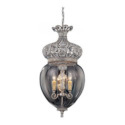 Savoy House - Josephine Foyer Fixture - Dazzle and delight anyone who deigns to enter your foyer with this fixture of crystal and glass. The full teardrop shape gives off plenty of glow for your entryway, while the crystals that top it all off shimmer with uncommon beauty.