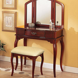 None - Cherry Tri-mirror Vanity - This 3-piece vanity set is a great addition to your bedroom or bathroom to create personal space. This vanity set features cherry finish,table with drawer,tri-folding mirror and coordinating stool.