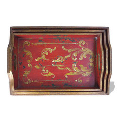 Accessory Tray Tall Rectangle, Distressed Red Baroque with Scrolls - Accessory Tray Tall Rectangle, Distressed Red Baroque with Scrolls