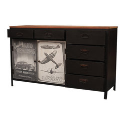 Industrial Reclaimed Wood & Iron B&W Vintage Ads Storage Chest Cabinet - Choose the path not taken with our rule breaking sideboard. We started with an industrial iron frame, added rustic Old Wood, decorated the doors with classic black and white vehicle ads and created a pop art cabinet. This hand crafted sideboard is built with reclaimed hardwood from Gujarat.