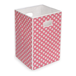 Badger Basket - Badger Basket Folding Hamper/Storage Bin - Pink with White Polka Dots - 21000 - Shop for Hampers from Hayneedle.com! Additional FeaturesDurable fabric with reinforced binding on all edgesFabric is 65% polyester and 35% cotton blendEasy to spot clean with a damp clothInternal panels crafted from heavy duty chipboardBadger Basket CompanyFor over 65 years Badger Basket Company has been a premier manufacturer of baskets bassinets bassinet bedding changing tables doll furniture hampers toy boxes and more for infants babies and children. Badger Basket Company creates beautiful and comfortable products that are continually updated and refreshed bringing you exciting new styles and fashions that complement the nostalgic and traditional products in the Badger Basket line.