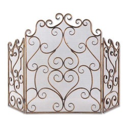 Uttermost - Grace Feyock Kora Traditional Fireplace Screen - Made of hand forged metal and mesh screen, this fireplace screen is finished in distressed maple wash with gold leaf undertones.