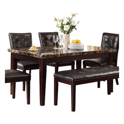 Homelegance - Homelegance Teague Faux Marble Dining Table in Espresso - A natural selection for your transitional home, the Teague collection will compliment your lifestyle. Faux marble is set in a diamond pattern in this casual dining offering. With dark brown bi-cast vinyl seating and a Espresso finish to compliment it all, this dining collection will be a welcome addition to your home.