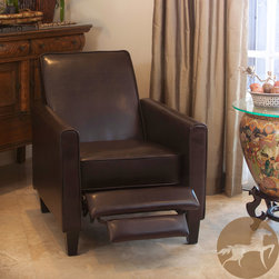Christopher Knight Home - Christopher Knight Home Leather Recliner Club Chair - Relax in style with this recliner club chair featuring a solid frame and sturdy feet for added stability and strength. This comfortable reclining chair is great for small spaces and functions as a great place to take a nap or read a book.
