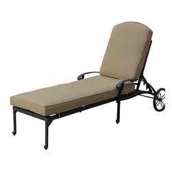 Lakeview Outdoor Designs - Rosedown Cast Aluminum Patio Chaise Lounge - The Rosedown collection from Lakeview Outdoor Designs adds sophistication to any outdoor area. This patio chaise lounge has an intricate floral design that complements any patio decor and a generous seat which offers maximum comfort. The chaise lounge has an adjustable back for comfort and includes a 5-inch thick linen sesame cushion made from all-weather Sunbrella fabric which resists fading, moisture and mildew. The hand crafted, cast aluminum frame is welded for premium durability and capped with non-marking leveling feet on the bottom for additional support. The powder-coated, antique bronze aluminum frame is rust resistant and cleans up easily with mild soap and water.