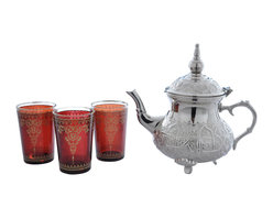"Divine Designs - Red Nickle plated Moroccan Tea Set - ""This stunning Moroccan Tea Set offer a new and unique experience to dining. The vibrant colors and distinguishing designs are stylish and will most certainly impress any house guest while entertaining."
