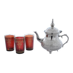 """Divine Designs - Red Nickle plated Moroccan Tea Set - """"This stunning Moroccan Tea Set offer a new and unique experience to dining. The vibrant colors and distinguishing designs are stylish and will most certainly impress any house guest while entertaining."""