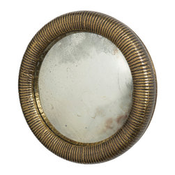 Easton Small Mirror Antique Brass - Choose simplicity with the porthole shape, classic corrugated frame texture, and general versatility of the Easton Small Mirror in Antique Brass.  A superb wall mirror for lighting up a diminutive half-bath or for placing right beside the door to check your hair on the way out, this attractive piece with its vintage-style finish is about a foot in diamater � just big enough to be useful in your daily routine.