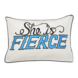 Steve Madden - Steve Madden Shana She is Fierce Breakfast Pillow Multicolor - 204487 - Shop for Pillows from Hayneedle.com! Say it loud and say it proud with the Steve Madden Shana She is Fierce Breakfast Pillow. A great gift for your fiercest friend (even if that happens to be you) this breakfast pillow features a machine washable cotton cover with an embroidered She Is Fierce design that lets everyone know the truth. Pair with your own fierce bedding or even fiercer check out other pieces in Steve Madden s coordinating Shana collection.About Steve Madden (Revman International)Steve Madden made his name as a leading designer of fashionable footwear and accessories; he's even considered the fashion footwear mogul of the 21st century. Now he brings his instinctive ability to sense the next hot fashion trend to a new line of bedding and bath products including sheets comforters beach and bath towels and other home products. This home collection launched in the fall of 2009 is already a big hit due largely to Madden's fashion-forward designs and dedication to quality.