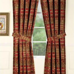 None - Olivia Red Curtain Panel Pair - Rejuvenate any room with the Olivia red curtain panel pair highlighting a geometric-inspired pattern design. Showcasing a soft brushed feel that adds warmth,the crimson colors stand out and the browns and golds offer a spectacular display.