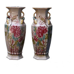 Golden Lotus - Pair Small Chinese White Porcelain Flower Hexagon Vases - This is a pair traditional Chinese decorative vases in white color with colorful oriental scenery graphic and interesting hexagon shape .
