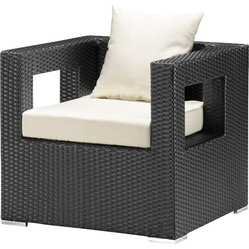 ZUO - Zuo Algarve Outdoor Armchair - A comfortable cube of UV treated synthetic weave, full of  indoor/ outdoor flair. Modern and impeccably crafted, with water and sun resistant cushions, this armchair will surpass your expectations for garden furniture.