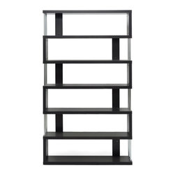 Baxton Studio - Baxton Studio Barnes Dark Brown Six-Shelf Modern Bookcase - This artsy, modern bookcase gets you organized with style. Our Barnes Bookcase is made of dark brown faux wood grain paper veneer over and engineered wood frame and features chromed steel side supports. Not only does this modern display shelf house books, but it is also the perfect place to show off your prized vases, decor, and home accents. The Barnes Bookcase is Malaysian-made, requires assembly, and should be dry dusted. Separately offered is the Barnes Bookcase with three shelves.