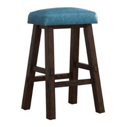 Grandin Road - Riverbank Saddle Bar Stool - Stationary wooden bar stool with comfortable leather cushion. Available in counter height and bar height. Floor glides for scuff-free movement. Simple assembly. Complete your bar area with our classic Riverbank Bar Stool and its timeless good looks. The saddle-leather seat of this bar stool is both sturdy and comfortable, poised to take on gatherings that go on till the wee hours. The seat is available in different colors, so you can have a matching set or one that mixes it up like a good cocktail.  .  .  .  . Imported.